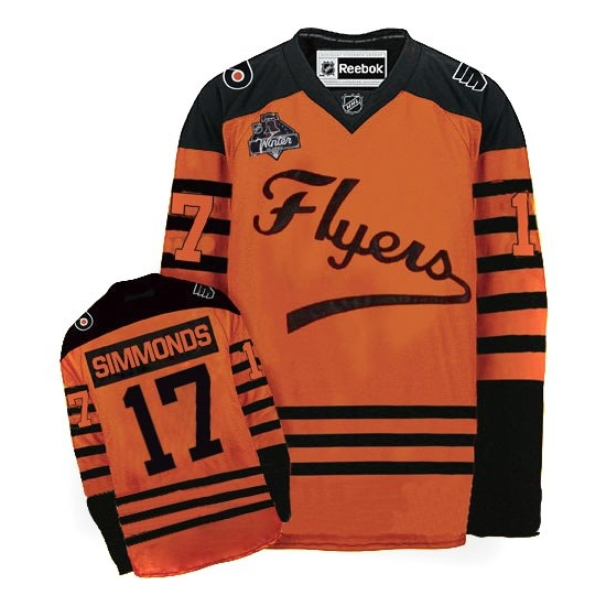Wayne Simmonds Philadelphia Flyers Authentic 2012 Winter Classic Reebok Jersey - Orange