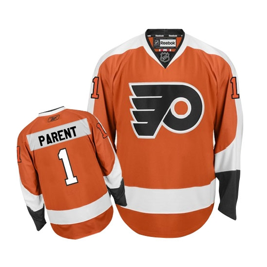 Bernie Parent Philadelphia Flyers Authentic Home Reebok Jersey - Orange