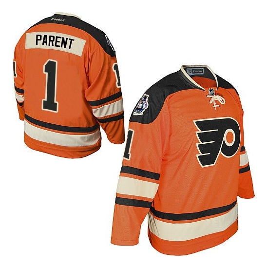 Bernie Parent Philadelphia Flyers Authentic Official Winter Classic Reebok Jersey - Orange