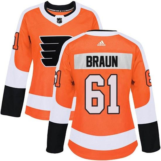 Justin Braun Philadelphia Flyers Women's Authentic Home Adidas Jersey - Orange