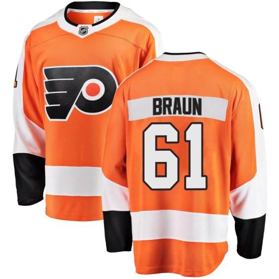 Justin Braun Philadelphia Flyers Youth Breakaway Home Fanatics Branded Jersey - Orange