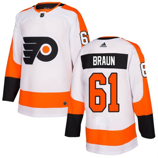 Justin Braun Philadelphia Flyers Youth Authentic Adidas Jersey - White