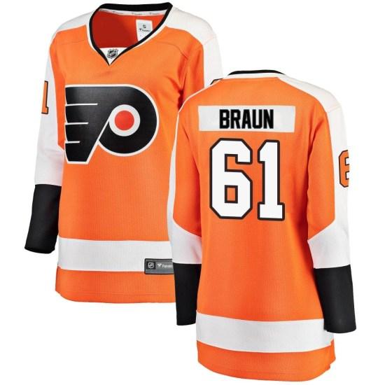 Justin Braun Philadelphia Flyers Women's Breakaway Home Fanatics Branded Jersey - Orange