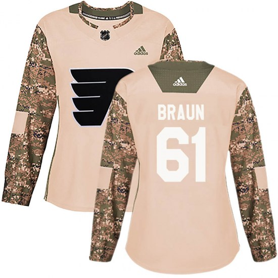 Justin Braun Philadelphia Flyers Women's Authentic Veterans Day Practice Adidas Jersey - Camo