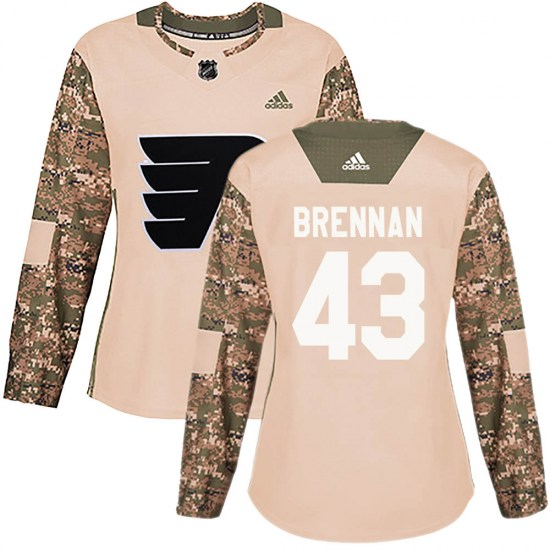 T.J. Brennan Philadelphia Flyers Women's Authentic Veterans Day Practice Adidas Jersey - Camo