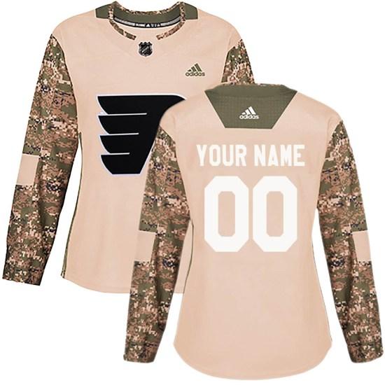 Custom Philadelphia Flyers Women's Authentic Veterans Day Practice Adidas Jersey - Camo