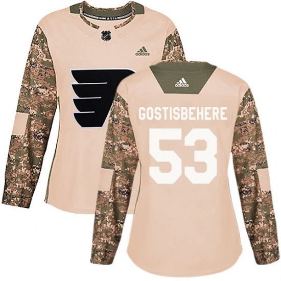 Shayne Gostisbehere Philadelphia Flyers Women's Authentic Veterans Day Practice Adidas Jersey - Camo