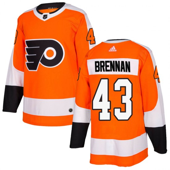 T.J. Brennan Philadelphia Flyers Authentic Home Adidas Jersey - Orange
