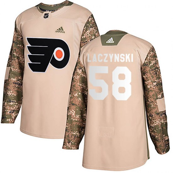 Tanner Laczynski Philadelphia Flyers Youth Authentic Veterans Day Practice Adidas Jersey - Camo
