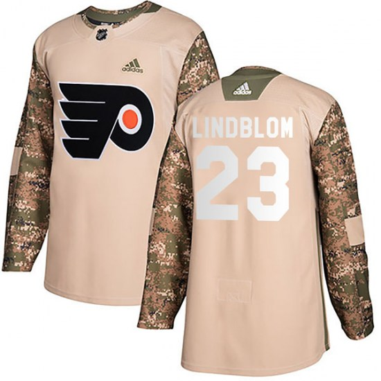 Oskar Lindblom Philadelphia Flyers Youth Authentic Veterans Day Practice Adidas Jersey - Camo