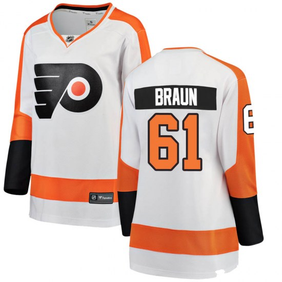 Justin Braun Philadelphia Flyers Women's Breakaway Away Fanatics Branded Jersey - White