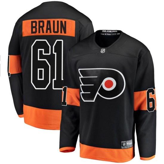 Justin Braun Philadelphia Flyers Youth Breakaway Alternate Fanatics Branded Jersey - Black