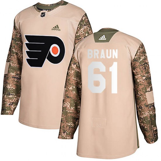 Justin Braun Philadelphia Flyers Authentic Veterans Day Practice Adidas Jersey - Camo