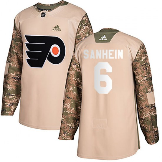 Travis Sanheim Philadelphia Flyers Authentic Veterans Day Practice Adidas Jersey - Camo