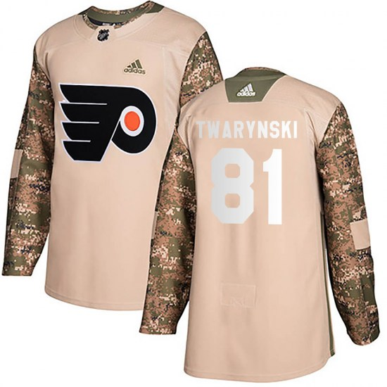 Carsen Twarynski Philadelphia Flyers Authentic Veterans Day Practice Adidas Jersey - Camo