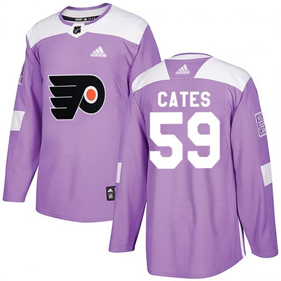 Jackson Cates Philadelphia Flyers Authentic Fights Cancer Practice Adidas Jersey - Purple