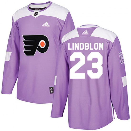 Oskar Lindblom Philadelphia Flyers Authentic Fights Cancer Practice Adidas Jersey - Purple