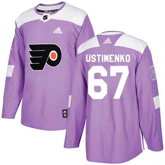 Kirill Ustimenko Philadelphia Flyers Authentic ized Fights Cancer Practice Adidas Jersey - Purple