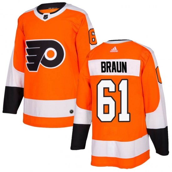 Justin Braun Philadelphia Flyers Youth Authentic Home Adidas Jersey - Orange