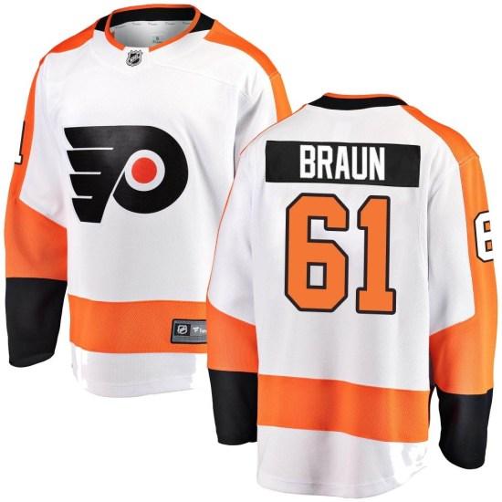Justin Braun Philadelphia Flyers Youth Breakaway Away Fanatics Branded Jersey - White