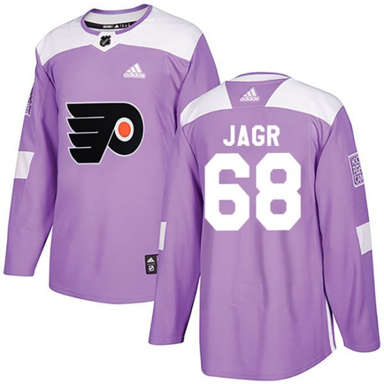 Jaromir Jagr Philadelphia Flyers Youth Authentic Fights Cancer Practice Adidas Jersey - Purple