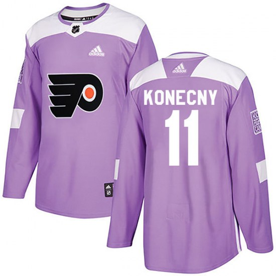 Travis Konecny Philadelphia Flyers Youth Authentic Fights Cancer Practice Adidas Jersey - Purple
