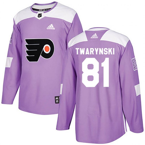 Carsen Twarynski Philadelphia Flyers Youth Authentic Fights Cancer Practice Adidas Jersey - Purple
