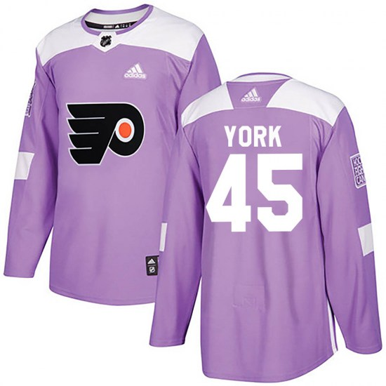 Cam York Philadelphia Flyers Youth Authentic Fights Cancer Practice Adidas Jersey - Purple