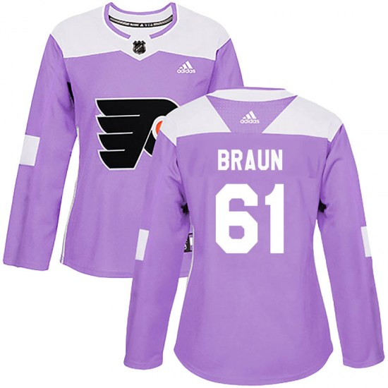 Justin Braun Philadelphia Flyers Women's Authentic Fights Cancer Practice Adidas Jersey - Purple