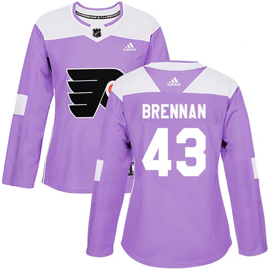 T.J. Brennan Philadelphia Flyers Women's Authentic Fights Cancer Practice Adidas Jersey - Purple