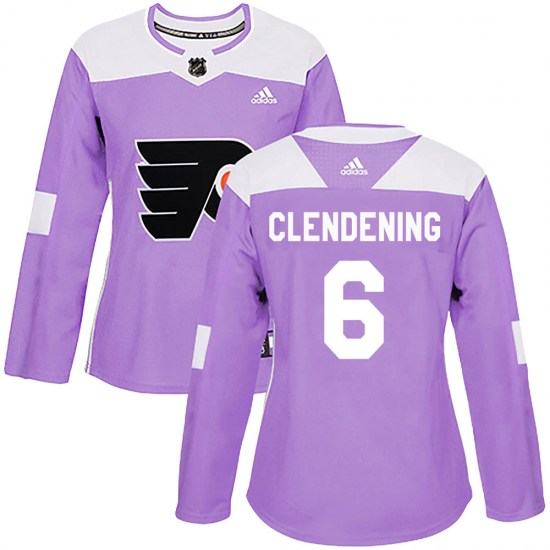 Adam Clendening Philadelphia Flyers Women's Authentic Fights Cancer Practice Adidas Jersey - Purple