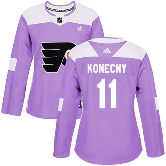 Travis Konecny Philadelphia Flyers Women's Authentic Fights Cancer Practice Adidas Jersey - Purple