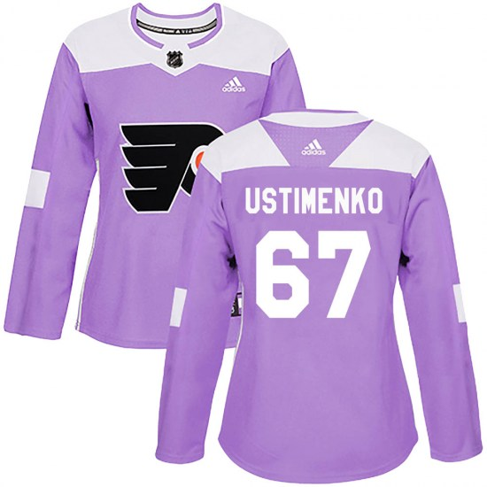 Kirill Ustimenko Philadelphia Flyers Women's Authentic ized Fights Cancer Practice Adidas Jersey - Purple