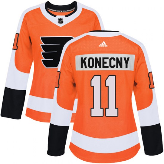 Travis Konecny Philadelphia Flyers Women's Authentic Home Adidas Jersey - Orange