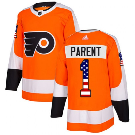Bernie Parent Philadelphia Flyers Authentic USA Flag Fashion Adidas Jersey - Orange