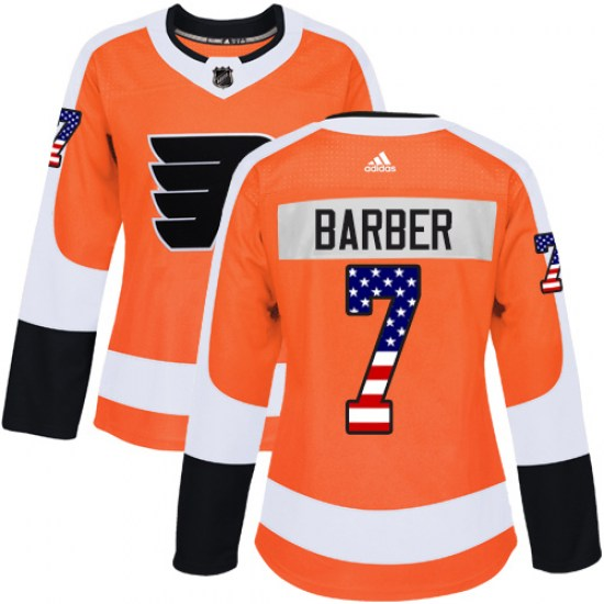 Bill Barber Philadelphia Flyers Women's Authentic USA Flag Fashion Adidas Jersey - Orange