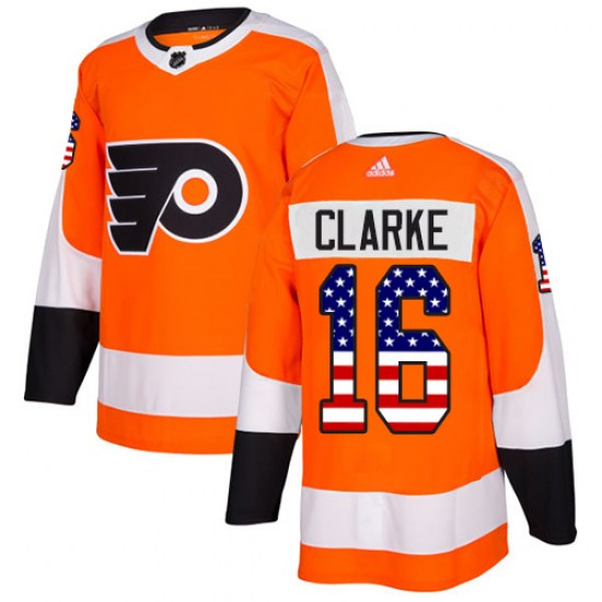 Bobby Clarke Philadelphia Flyers Authentic USA Flag Fashion Adidas Jersey - Orange