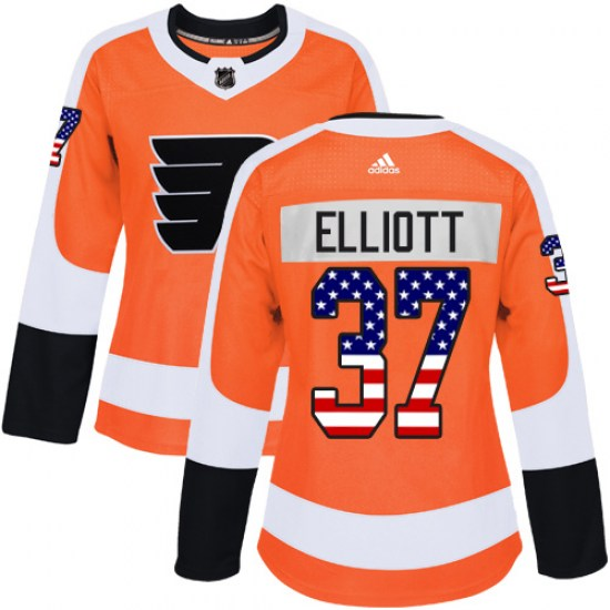Brian Elliott Philadelphia Flyers Women's Authentic USA Flag Fashion Adidas Jersey - Orange