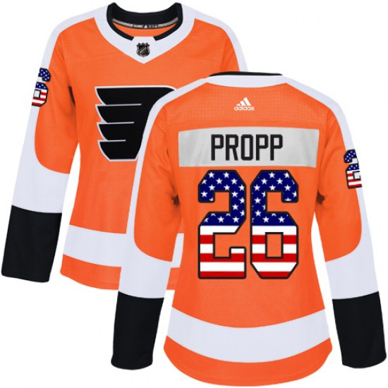 Brian Propp Philadelphia Flyers Women's Authentic USA Flag Fashion Adidas Jersey - Orange