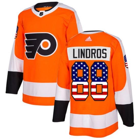 Eric Lindros Philadelphia Flyers Youth Authentic USA Flag Fashion Adidas Jersey - Orange
