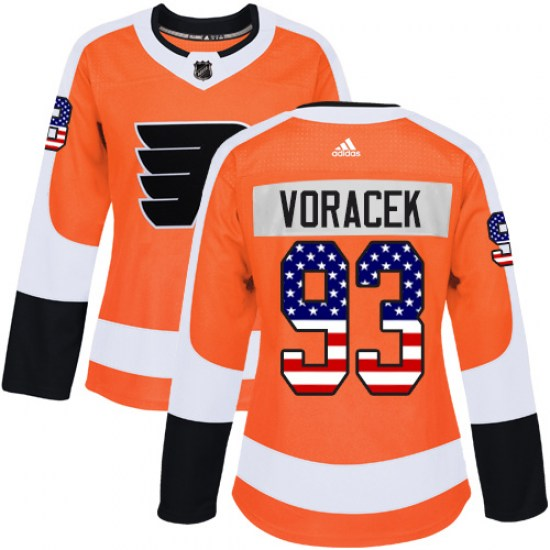 Jakub Voracek Philadelphia Flyers Women's Authentic USA Flag Fashion Adidas Jersey - Orange