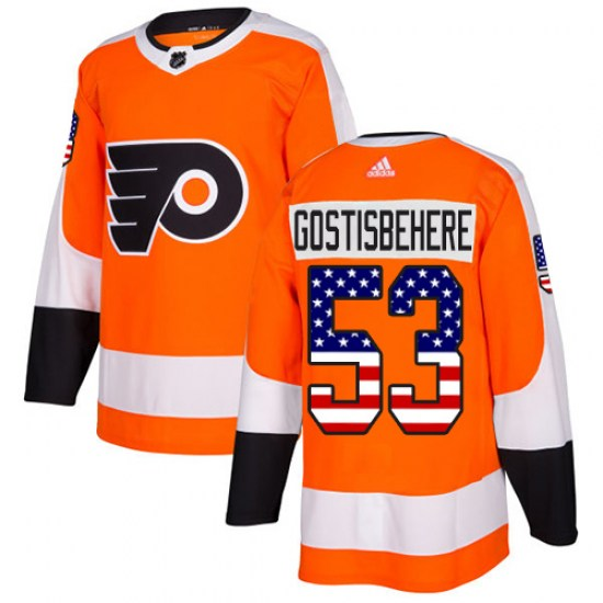 Shayne Gostisbehere Philadelphia Flyers Authentic USA Flag Fashion Adidas Jersey - Orange