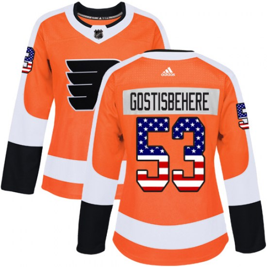 Shayne Gostisbehere Philadelphia Flyers Women's Authentic USA Flag Fashion Adidas Jersey - Orange