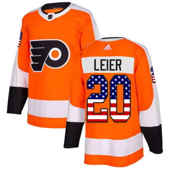 Taylor Leier Philadelphia Flyers Authentic USA Flag Fashion Adidas Jersey - Orange