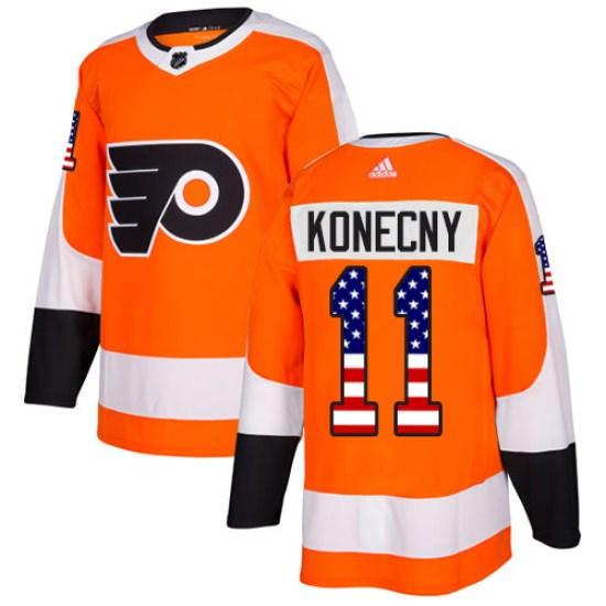 Travis Konecny Philadelphia Flyers Authentic USA Flag Fashion Adidas Jersey - Orange