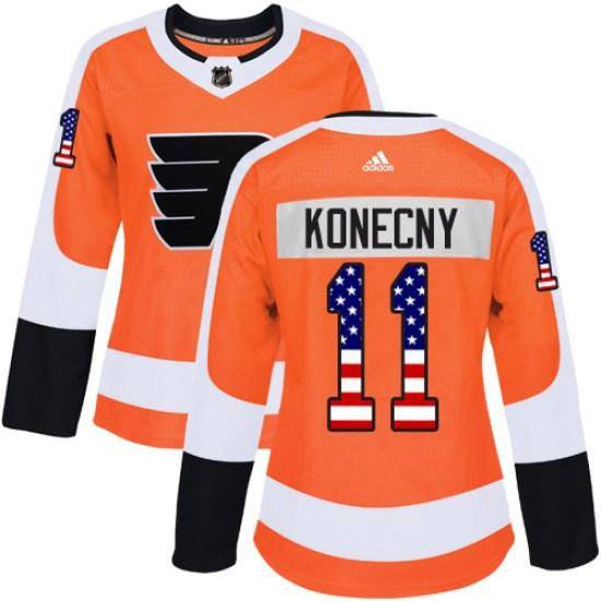 Travis Konecny Philadelphia Flyers Women's Authentic USA Flag Fashion Adidas Jersey - Orange