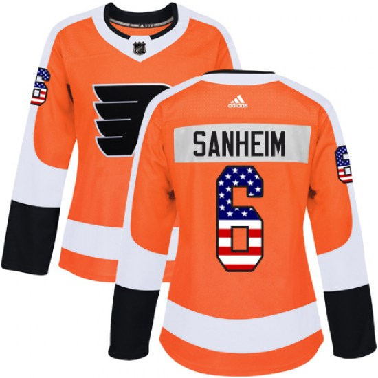 Travis Sanheim Philadelphia Flyers Women's Authentic USA Flag Fashion Adidas Jersey - Orange